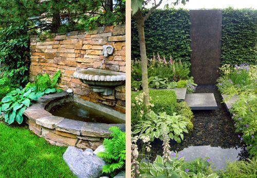 фонтаны и водопады в маленьком саду