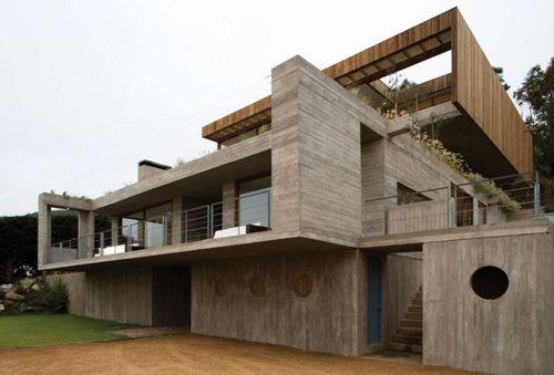 дизайн бетонного загородного коттеджа