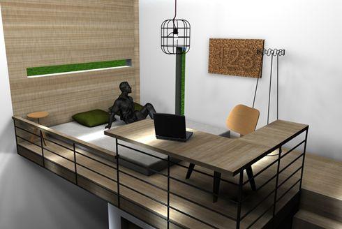 удобная рабочая зона с угловым столом
