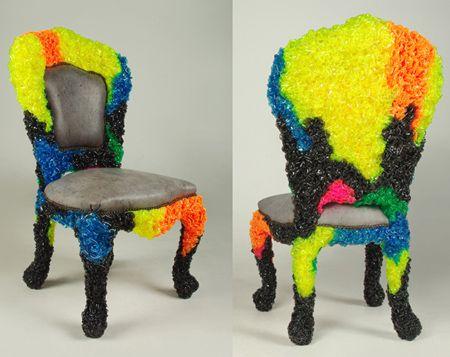 уникальный пластиковый стул с кожаной обивкой