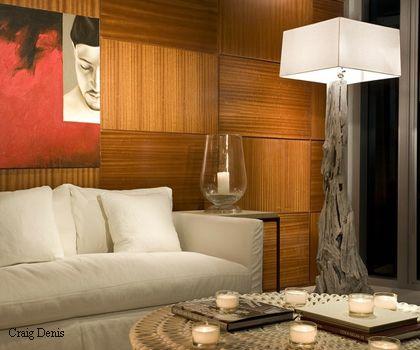 фактурные деревянные панели в современном интерьере
