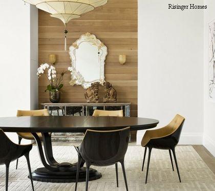 деревянные панели в интерьере столовой