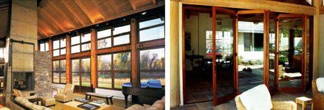 панорамные окна и двери с деревянными рамами
