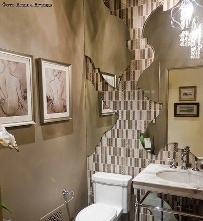 оригинальное использование зеркал в интерьере ванной