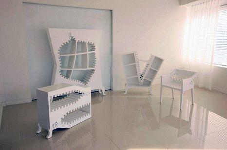 необычная белая мебель на молнии