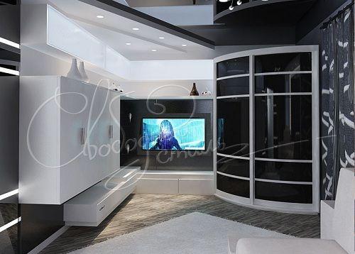 угловой радиусный шкаф современного стиля