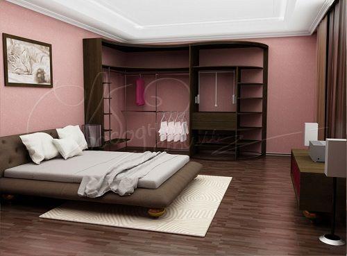 встроенный радиусный шкаф в спальне