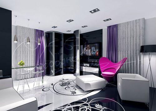 дизайн шкафа с глянцевыми фасадами для гостиной