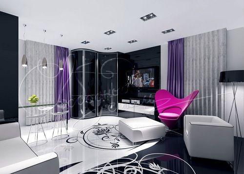 стильный радиусный шкаф в гостиной