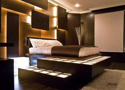 эффектный световой декор спальни