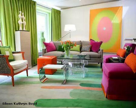 яркий стильный интерьер гостиной