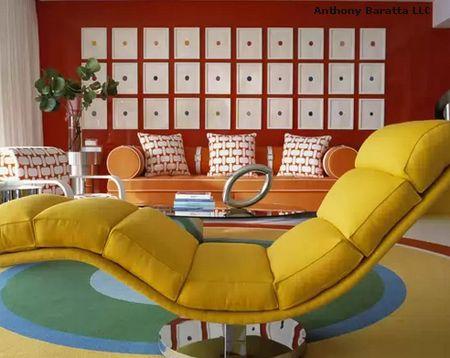 яркий многоцветный интерьер гостиной
