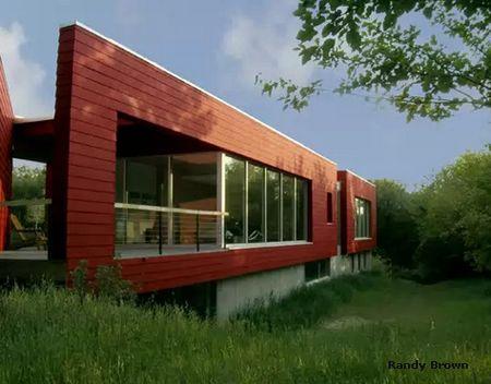 яркий дизайн фасада бетонного дома