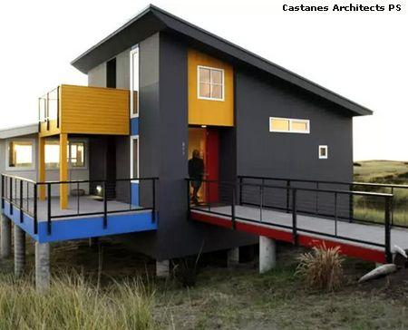 яркие элементы фасада современного стиля