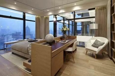 современный интерьер спальни в пентхаусе