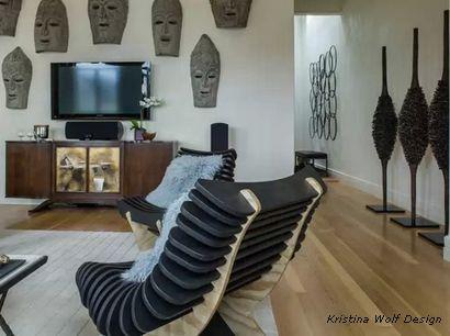 нео-этно интерьер с оригинальным скульптурным декором