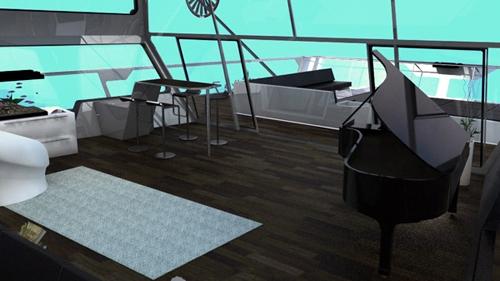 современная гостиная с роялем