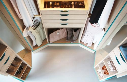 дизайн центральной части шкафа для одежды