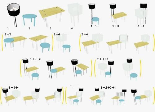схема сочетания предметов мебели с многофункциональным назначением