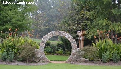 круглая каменная садовая арка