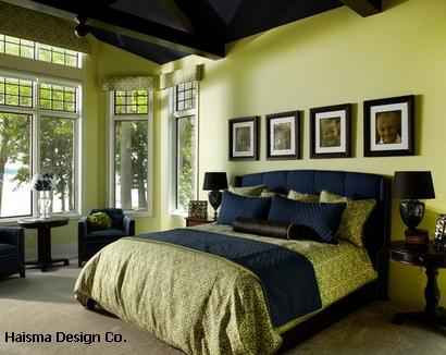 неконтрастный рисунок текстиля для яркой спальни
