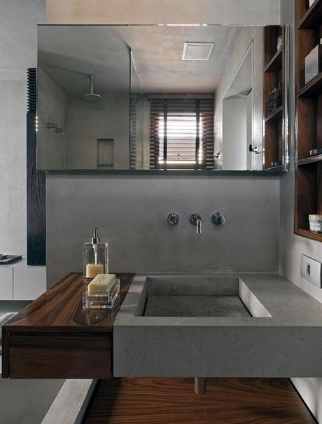 современный интерьер ванной комнаты для молодого человека