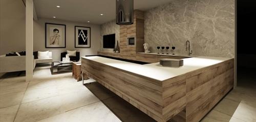 П-образное расположение мебели в проходной кухне