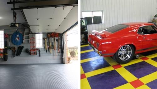 дизайн полимерной плитки для пола гаража