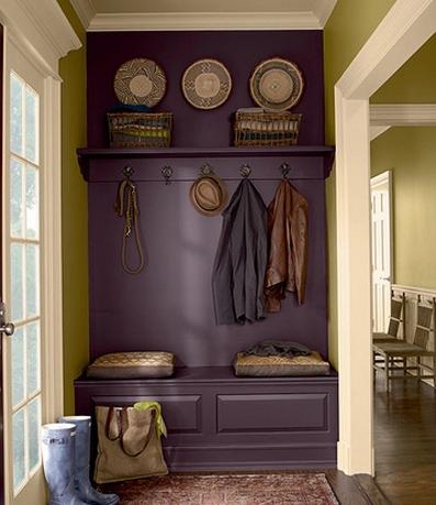 сочетание оливкового и фиолетового в интерьере