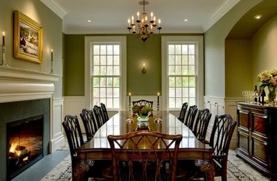 сочетание оливкового и белого в интерьере столовой