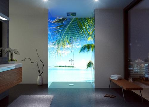 современная душевая кабина с OLED экраном вместо шторок