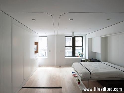 встроенная откидная кровать в гостиной