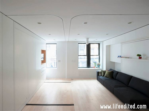 трансформируемый дизайн однокомнатной квартиры 40 м2