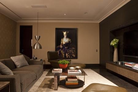 роскошная мебель в интерьере домашнего кинотеатра