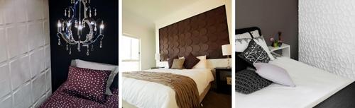 декоративные 3D панели в интерьере спальни