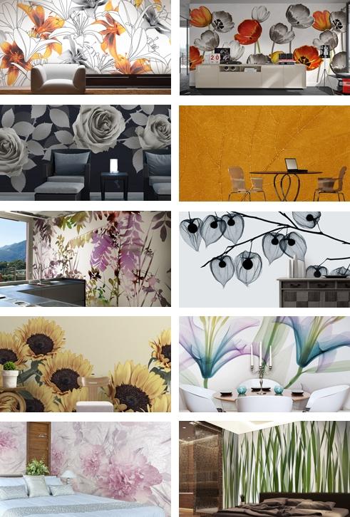 обои для стен с цветами и растениями