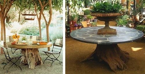 садовые столы из пней в ландшафтном дизайне участка