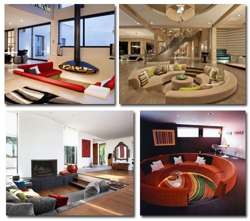 дизайн гостиных с заглубленными зонами отдыха