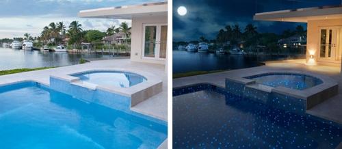 флуоресцентная плитка для бассейна днем и вечером