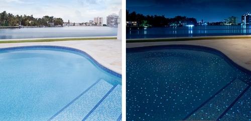 мозаичная облицовка чаши бассейна флуоресцентной плиткой