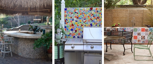 мозаика в дизайне летней кухни