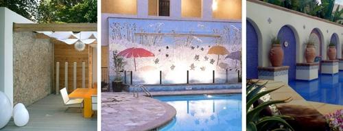мозаичные стены в дизайне дворов