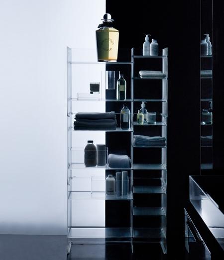 пластиковые стеллажи и полки для ванной