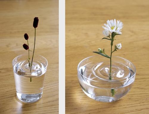 плавающие вазы под один цветок в маленьком сосуде