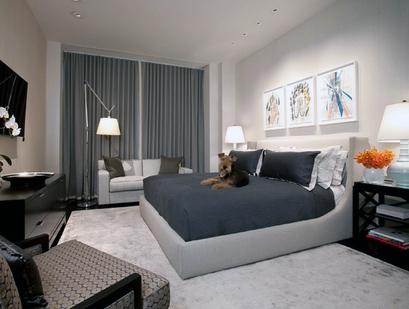 стильный декор стен для серой спальни