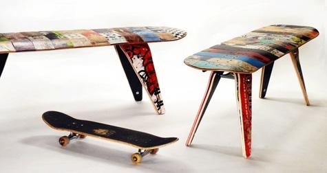 скамейки из старых скейтбордов