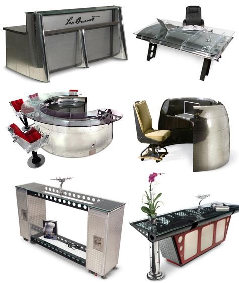 офисная мебель и рабочие столы из самолетов