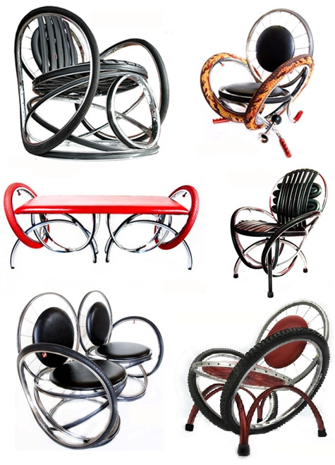 стулья, кресла и скамейки из старых велосипедов