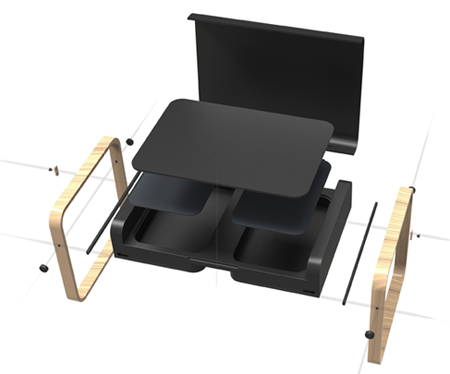 конструкция модульного столика для ноутбука