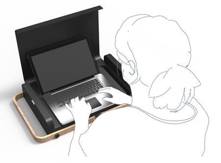 применение столика для ноутбука за обычным рабочим столом